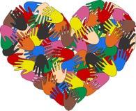 Gemischte ethnische Hände Stockfoto