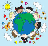 Gemischte ethnische Kinder auf der ganzen Welt Lizenzfreie Stockbilder