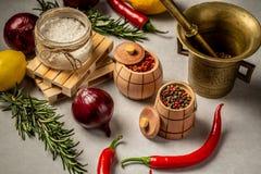 Gemischte Gewürze für Fische und Hühnerkochen und -salz, Zwiebelzitrone und Pfefferkörner auf alter Weinlesetabelle lizenzfreie stockfotografie