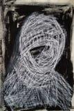 Gemischte Medien, die in Schwarzweiss des weiblichen Porträts zeichnen stockfoto
