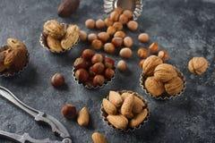 Gemischte rohe Nüsse in den Nussschalen - Haselnuss, Walnuss, Mandel und Muskatnuss Gesunder Lebensstil, Diätprodukt Stockbilder