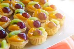 Gemischtes frische Frucht-Vanillepudding-Törtchen stockbild