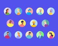 Gemischtrassige und internationale Leute in der runden Ikone vektor abbildung