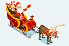 Gemkonst av Santa Sleigh Vector Illustration Royaltyfria Foton