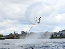 Gemma Weston on Flyboard. World champion Gemma Weston on Flyboard in Limerick royalty free stock images