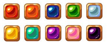 Gemme carr?e color?e avec l'ensemble d'or de cadre pour le design de l'interface mobile de jeu illustration libre de droits