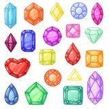 Gemme de vecteur de diamant et pierre précieuse de pierre gemme ou de cristal pour l'ensemble cristallin d'illustration de bijoux illustration libre de droits