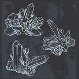 Gemme del cristallo del disegno della mano Pietra preziosa geometrica Fotografia Stock
