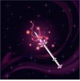 Gemme magique de rose de sorcière de baguette magique Photos libres de droits