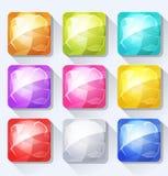 Gemmen en Juweelpictogrammen en Knopen voor Mobiel App en Spel Ui worden geplaatst die Royalty-vrije Stock Foto