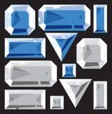 Gemmen van saffier en diamant Stock Afbeelding