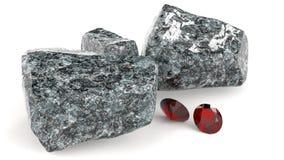 Gemmes brillantes et illustration rocheuse des rochers 3d Photographie stock
