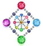 gemmes colorées par composition de Losange-cercle réglées Photographie stock