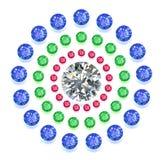 Gemmes colorées par composition ronde réglées Photo stock
