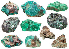Gemmes minérales de diverse malachite d'isolement Photographie stock libre de droits
