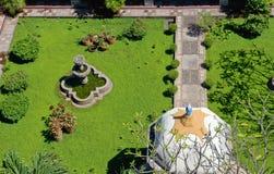 Gemodelleerde tuin luchtmening Stock Foto