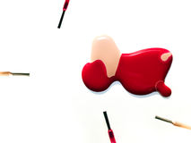 Gemorst nagellak Stock Foto's