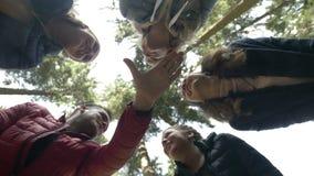 Gemotiveerd trekkersteam op de alpinismeconcurrentie planningsstrategie die en hoog vijf groepswerkgebaar met handen toejuichen d stock videobeelden