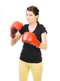 Gemotiveerde vrouwelijke bokser Royalty-vrije Stock Foto