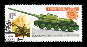 Gemotoriseerd kanon su-100, Wereldoorlog II Gepantserde Voertuigen serie, Royalty-vrije Stock Foto's