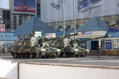 Gemotoriseerde houwitser msta-s op parade van Victory Day op 9 Mei Stock Afbeeldingen