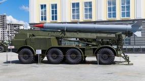 Gemotoriseerde raketinstallatie een tentoongesteld voorwerp van een militair museum Stock Foto's