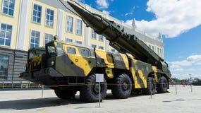 Gemotoriseerde raketinstallatie een tentoongesteld voorwerp van een militair museum Royalty-vrije Stock Afbeeldingen