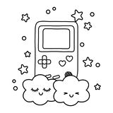 Gemowa chłopiec i chmury czarny i biały ilustracji