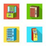 Gemowa maszyna, biletowy sprzedaży terminal, automaton dla sprzedawać aqua i czekoladę Terminal ustawiać inkasowe ikony wewnątrz Fotografia Royalty Free
