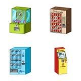 Gemowa maszyna, biletowy sprzedaży terminal, automaton dla sprzedawać aqua i czekoladę Terminal ustawiać inkasowe ikony wewnątrz Obrazy Stock