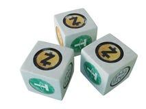 Gemowe kości z wizerunkiem crypto waluta Bawić się kostka do gry dla c Zdjęcia Stock