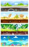Gemowego tła kreskówki krajobrazu interfejsu wektorowy gamification, pejzaż miejski i miastowy hazard sceny tło ilustracja wektor