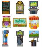 Gemowej maszyny wektorowa arkada uprawia hazard gry tropi połowu tana i boks dokąd gamesome hazardzisty lub gamer sztuka wewnątrz royalty ilustracja