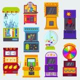 Gemowej maszyny wektorowa arkada uprawia hazard gry w kasynie dokąd gamesome gamer lub hazardzista zakładamy się w hazard kompute royalty ilustracja