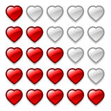 Gemowej sieci ratingowi serca ustawiający Fotografia Royalty Free
