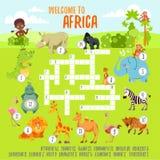Gemowy crossword pojęcie z kreskówka afrykanina zwierzętami Zdjęcia Royalty Free