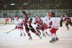 Gemowy moment mecz hokeja Zdjęcia Royalty Free