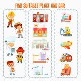 Gemowy pojęcie o znalezienia dobra samochodzie dla różnorodnych zawodów i miejscu pracy Fotografia Stock