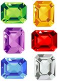 Gems. Selection of colored cut stones Stock Photography