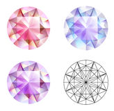 Gems. Three different kind of gems isolated on the white Stock Images