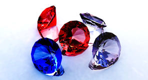 Gems. Rubies, sapphire and two diamonds royalty free illustration