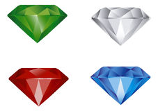 Gems. 4 perfect gem isolated white Royalty Free Stock Image