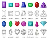 Gems And Cut Line Set. Different Facets For Crystals. Jewelry Collection Stock Images