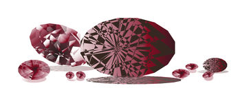 Gems 2. Brilliant garnets gems casting shadow on the background Royalty Free Stock Photo
