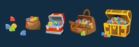 Gems chests set on blue background. Cartoon money chests for games, books etc. stock illustration