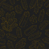 Gems, crystals black and golden pattern vector Royalty Free Stock Photo