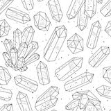 Gems, crystals black and white pattern vector Royalty Free Stock Photography