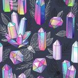 Gems, crystals seamless pattern vector vector illustration
