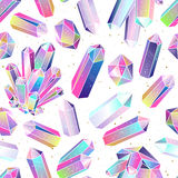 Gems, crystals seamless pattern vector Stock Images