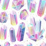 Gems, crystals seamless pattern vector stock illustration